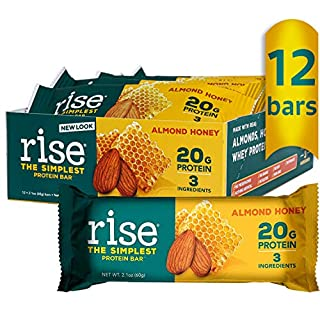 Rise Whey Protein Bars, Almond Honey, Healthy Breakfast Bar & Protein Snacks, 20g Protein 4g Dietary Fiber, 3 Natural Whole Food Ingredients, Simplest Non-GMO, Gluten Free, Soy Free Bar, 12 Pack