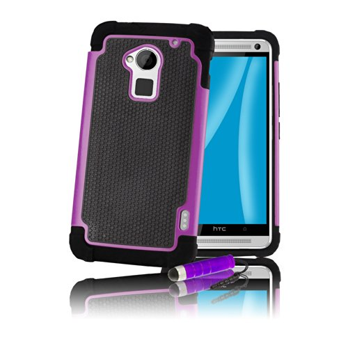 32ndShock Proof Heavy Duty Dual Defender Case Cover for HTC One Max (T6), Bundle Includes Cover, Film Screen Protector, Microfibre Cleaning Cloth and Touch Screen Stylus Pen - Purple