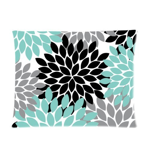 Black Grey Green Dahlia Floral Pattern Pillowcase,20x30inch