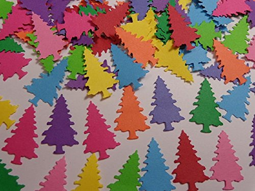 Colorful Christmas Tree Die Cuts - Scrapbooking Embellishments - Confetti (Set of 200 pieces) from Honeybear Party Boutique