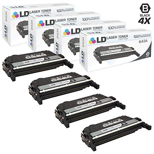 LD Remanufactured Replacements for HP 643A/Q5950A 4PK Black Toner Cartridges for Color LaserJet 4700, 4700dn, 4700dtn, 4700n, 4700ph+ -