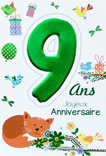 Age Mv 69 2009 Carte Joyeux Anniversaire 9 Ans Enfant Garcon Fille Motif Chat Oiseaux Cadeaux Amazon Fr Fournitures De Bureau