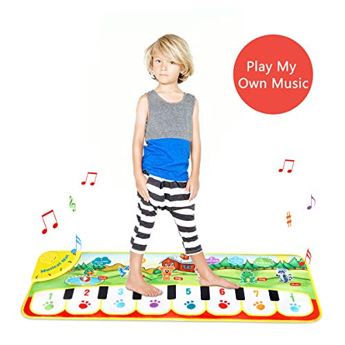 (Ywin Kids Piano Music Mat Baby Musical Toys,Dance Mat Musical Instruments for Toddler 8 Key and 8 Song Animal Sound Educational Toy Gift)