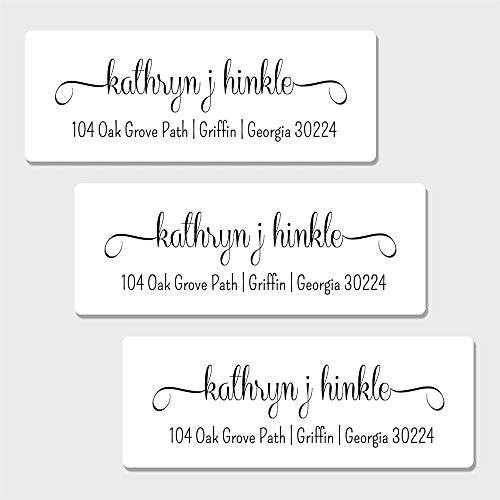 60 Personalized White Fancy Print Return Address Labels (AL6) (Customized Return Address Labels)