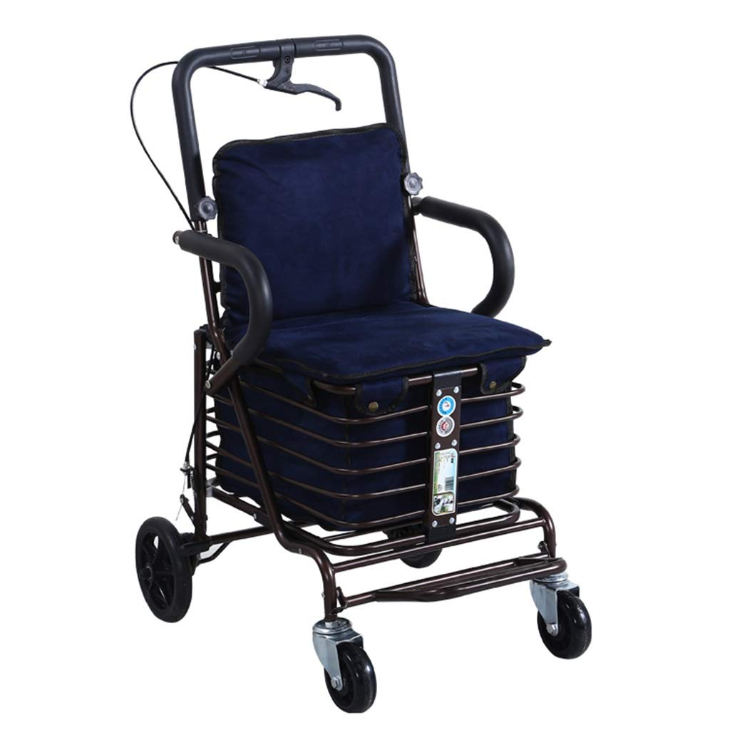 Under Seat Rollator Bag-Replacement Bag for 4 Wheel Walker, Limited Mobility with Seat Transport Chair Foldable and Adjustable Auxiliary Walking Safety Walker (Color : Single Wheel Blue) by YL WALKER