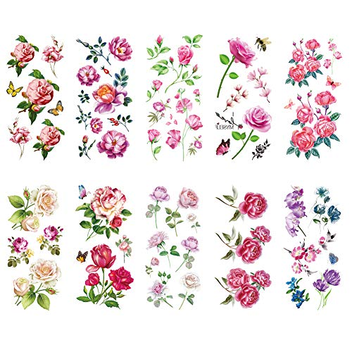 TAFLY Flower Temporary Tattoos Stickers for Women Muti-Colored Waterproof Roses Butterfly Fake Tattoo 10 Sheets