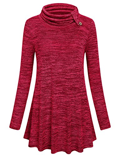 Hibelle Red Tunic Sweater, Women Christmas Gift Cowl Neck Shirt Leisure Classic Chic Cozy Maternity Sweatshirt Holiday House Wear Ugly Solid Color Longline Oversized Tops L (Holiday Red Top Shirt)