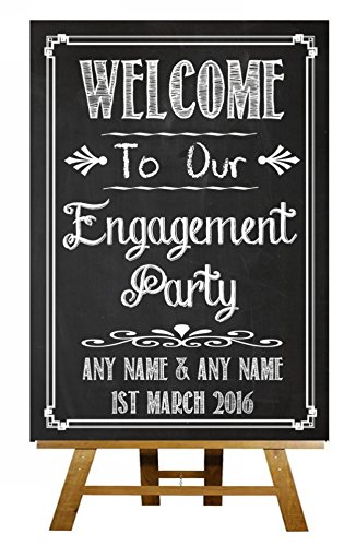 Chalkboard Style Welcome To Our Engagement Party Vintage Chalk Sketch Collection Personalised Printed Card Wedding Sign Party Animal Print