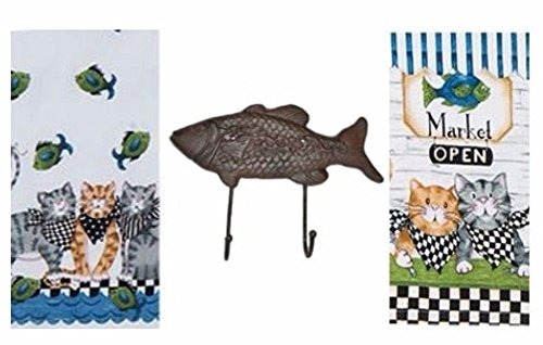 Cat Fish Market Kay Dee Terry Towel Flour Sack Towel Cast Iron Hook Bundle of 3 - Elsie The Cat