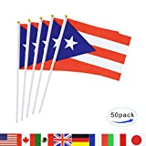 Puerto Rico Stick Flag,TSMD 50 Pack Hand Held Small Puerto Rican National Flags On Stick,International World Country Stick Flags Banners,Party Decorations For World Cup,Sports Clubs,Festival Events