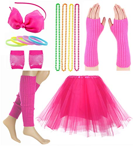 Child Girl 80's Accessories Set Tutu Skirt with Neon Bracelet Necklace Set (Hot Pink) -