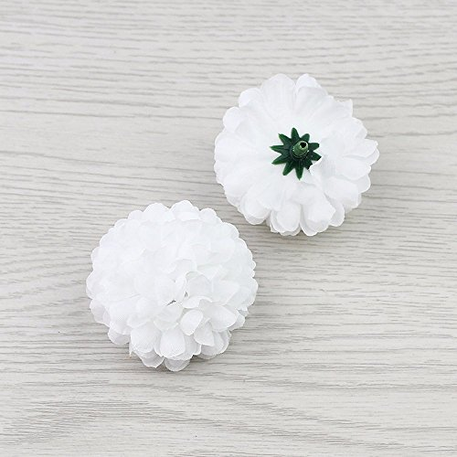FLOWER Artificial Silk Carnation Artificial Pompom Head Mini Hydrangea Home Wedding Decoration DIY Wreaths 30pcs 5cm(White)