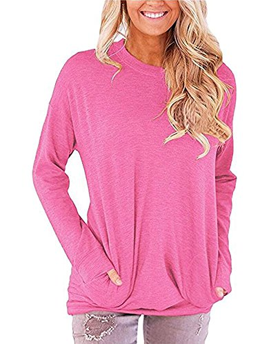 Women Solid Color Round Neck Casual Loose Long Sleeve Sweatshirt T-Shirts Tops Blouse Pink L