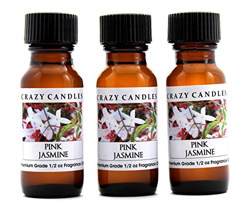 Crazy Candles Pink Jasmine 3 Bottles 1/2 Fl Oz Each (15ml) Premium Grade Scented Fragrance Oil By (Blend of Red Orange, Freesia, Lilac, Magnolia, Peony, Jasmine, Sandalwood, Peach, and Marshmallow) (Freesia Fragrance Oil)