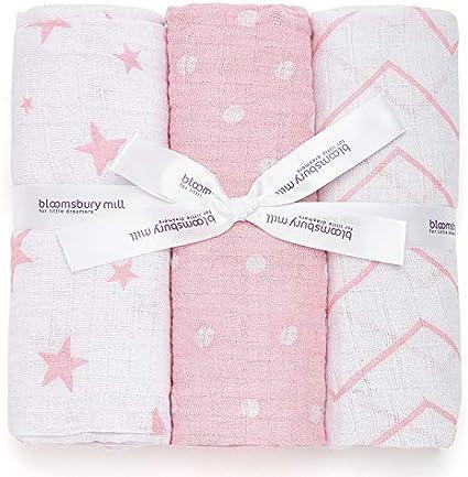 Bloomsbury Mill - Mantas de muselina de alta calidad – 100% Algodón Puro Estampado de Estrellas, Espiga y Lunares - Rosa y Blanco - 120 cm x 120 cm - Juego de 3