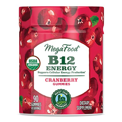 MegaFood - B12 Energy Gummies, Supports Energy Levels with Methylated Vitamin B12 and Organic Cranberry, Vegan, Gluten-Free, Non-GMO, Cranberry, 90 Gummies