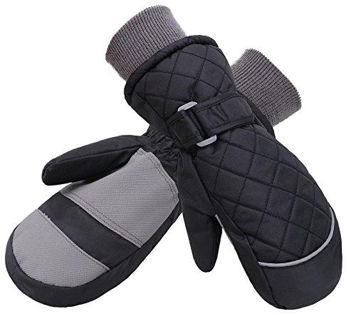Denovit Kids Boys&Girls Waterproof Ski Snowboard Winter Mitten Gloves,Black2,S