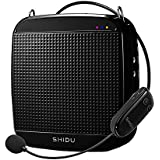 SHIDU 2.4G 18 Watts Wireless Voice Amplifier Rechargeable Personal Microphone PA System Loud Speaker for Teacher Works as a MP3 Player, Support TF Card Reader & USB Flash Drive (32G)-Black