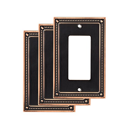 Franklin Brass W35060M-VBC-C Classic Beaded Single Decorator Wall Plate/Switch Plate/Cover Bronze with Copper Highlights, (3 Pack) (Venetian Light Collections 3)
