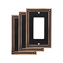 Franklin Brass W35060M-VBC-C Classic Beaded Single Decorator Wall Plate/Switch Plate/Cover Bronze with Copper Highlights, (3-Pack)