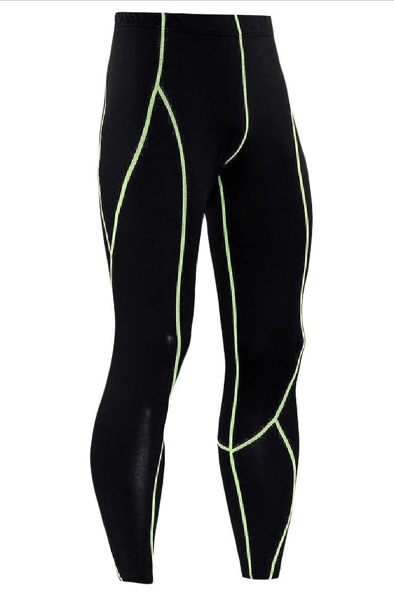 Vska Men Gym Bodycon Athletic for Fitness Training Baselayer Leggings