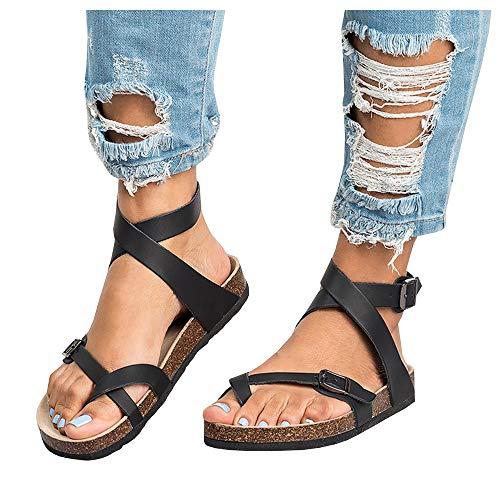 Liyuandian Womens Cross Toe Double Buckle Strap Summer Leather Flat Mayari Sandals ()
