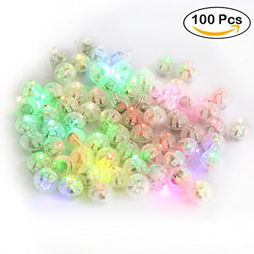 Accmor 100pcs LED Mini Round Ball Balloon Light, Flash Ball Lights for Paper Lantern Balloon Halloween Party Wedding Decoration(Multicolor)
