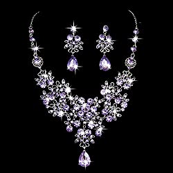 Rhinestone Crystal Necklace Earrings Jewelry Set