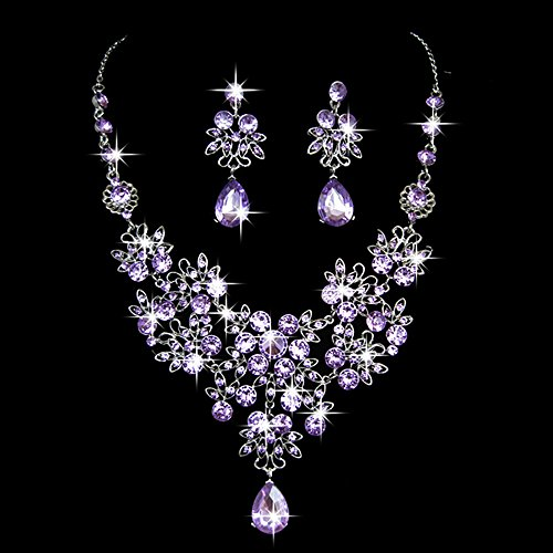 (Gbell Clearance! Charm Wedding Bridal Crystal Necklace Earrings Jewelry Set Fine Rhinestone Women's Prom Jewelry Statement (Purple))