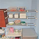 BAOYOUNI Tension Rod Shelf Expandable Closet