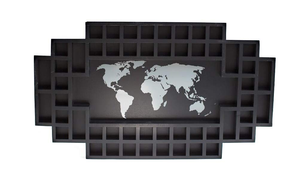 Shot Glass Display Frame - 52 Spaces - Solid Wood Frame - World Map - US Map (Black, World Map)