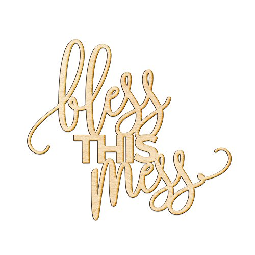 Cheap Bless This Mess Woodums Wood Sign Décor Wall Art for Gallery Wall – Unfinished 20″ wide x 18″ tall