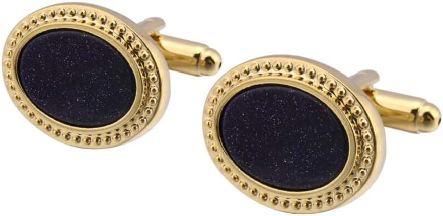 Vintage Oval Sand Cufflinks Natural Stone Cufflinks for Mens Shirt Accessories Color : Gold Blue Sandstone French Cufflinks 1 Pair Mens Cufflinks Cufflinks with Box