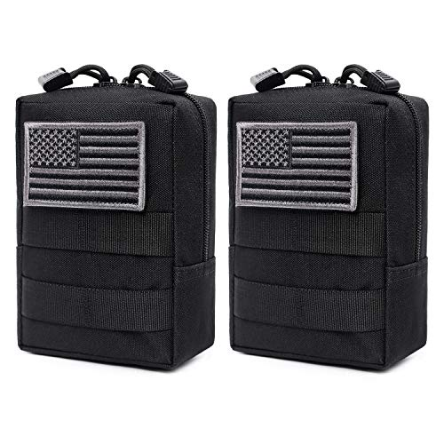 2 Pack Molle Pouches - Tactical Compact Water-Resistant EDC Pouch (Patch Not Included) (Black) (Military Vest Attachments)