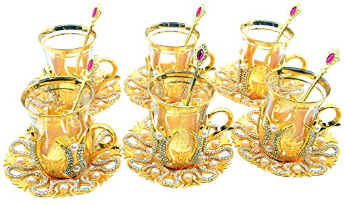 Set of 6 Turkish Style Tea Glasses with Brass Holder Saucer and Spoons Set Silver Plated 24 Pieces - Decorated ()