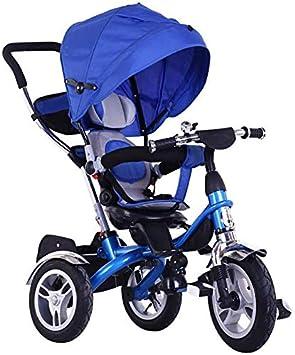 Knoijijuo Bebes 1 Año Plegable 4 EN 1 Triciclo para Niños +18 Meses con Pedales con Capota Extraíble Plegable Barra Telescópica para Padres Triciclo De Empuje,Azul