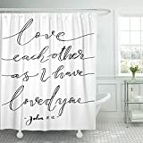 Breezat Shower Curtain Wall Love Each Other As I Have Loved You Lettering Bible Verse Modern Calligraphy Christian Beautiful Waterproof Polyester Fabric 72 x 72 Inches Set with Hooks