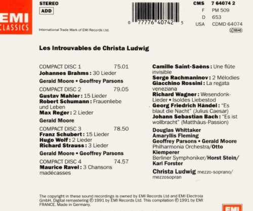 Christa Ludwig - Les Introuvables by Brahms / Mahler / Ludwig