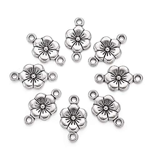 Beadthoven 50pcs Antique Silver Alloy Plum Blossom Flower Tibetan Style Beads Charms for Making Bracelets Necklaces Dangling Earrings Lead Free & Cadmium Free & Nickel Free, 18x10mm