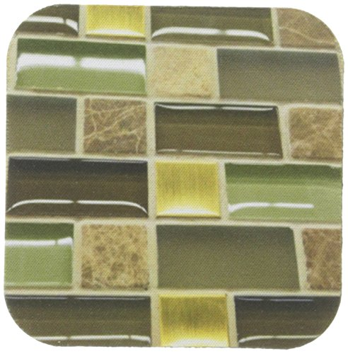 Brown Gold Olive (3dRose cst_34850_1 Olive Brown Gold and Beige Rectangles-Soft Coasters, Set of 4)