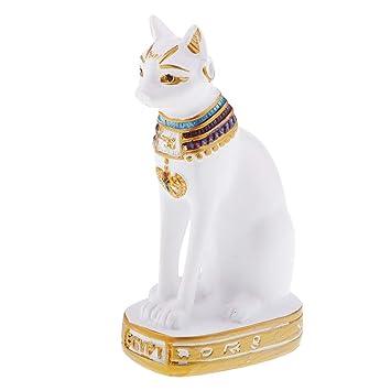 Baoblaze 1 Pieza Egipto Antiguo Egipcio Gatos Figura para decoración de hogar, cumpleaños geshenk para Amigos Familia, Resina, Blanco: Amazon.es: Hogar