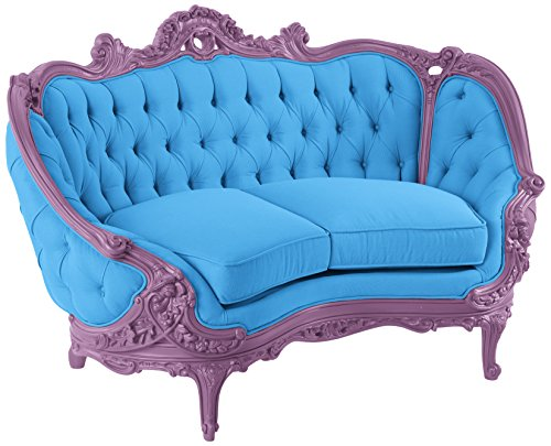 POLaRT Designs 634B_MO_SAU Loveseat with Canvas Capri Upholstery, Wonderland Purple Finish