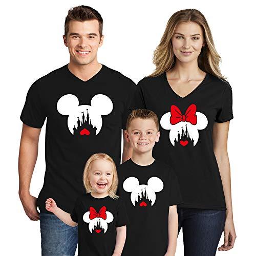 Disney Family Trip #2 Disney Heart Love 2019 Couple V Neck Shirts Disneyland Trip Disney Minnie Mickey Mouse T Shirts Black Women X-Large