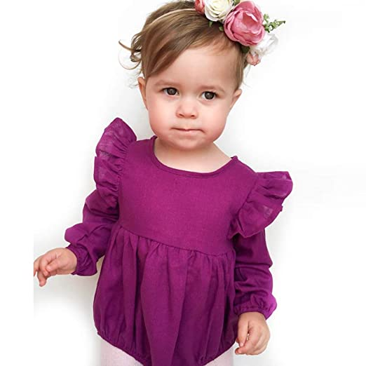 b46fba0c36c5 Mornyray Baby Girl s Casual Ruffle Bodysuit Solid Cotton Kids Romper  Clothes Size 70(6-