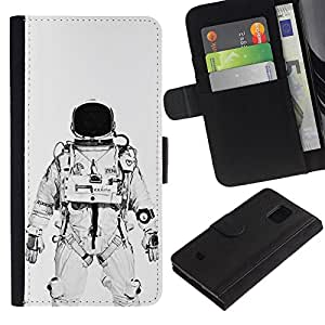 KingStore / Leather Etui en cuir / Samsung Galaxy S5 Mini, SM-G800 / Astronauta Cosmonauta Blanco Negro