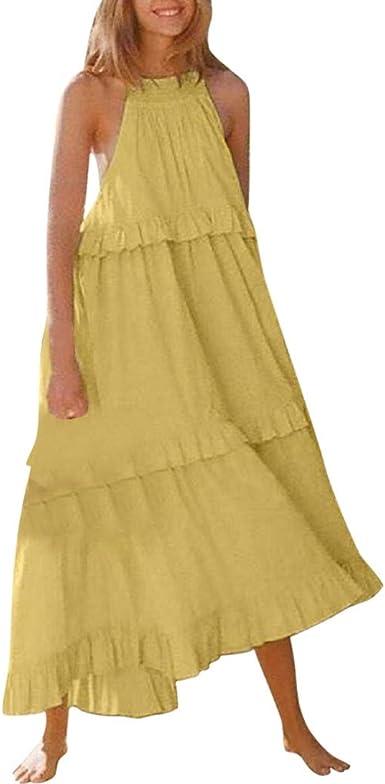 Vestidos Mujer Pastel Color Sólido Falda Sin Mangas Moda 2019 Sexy ...