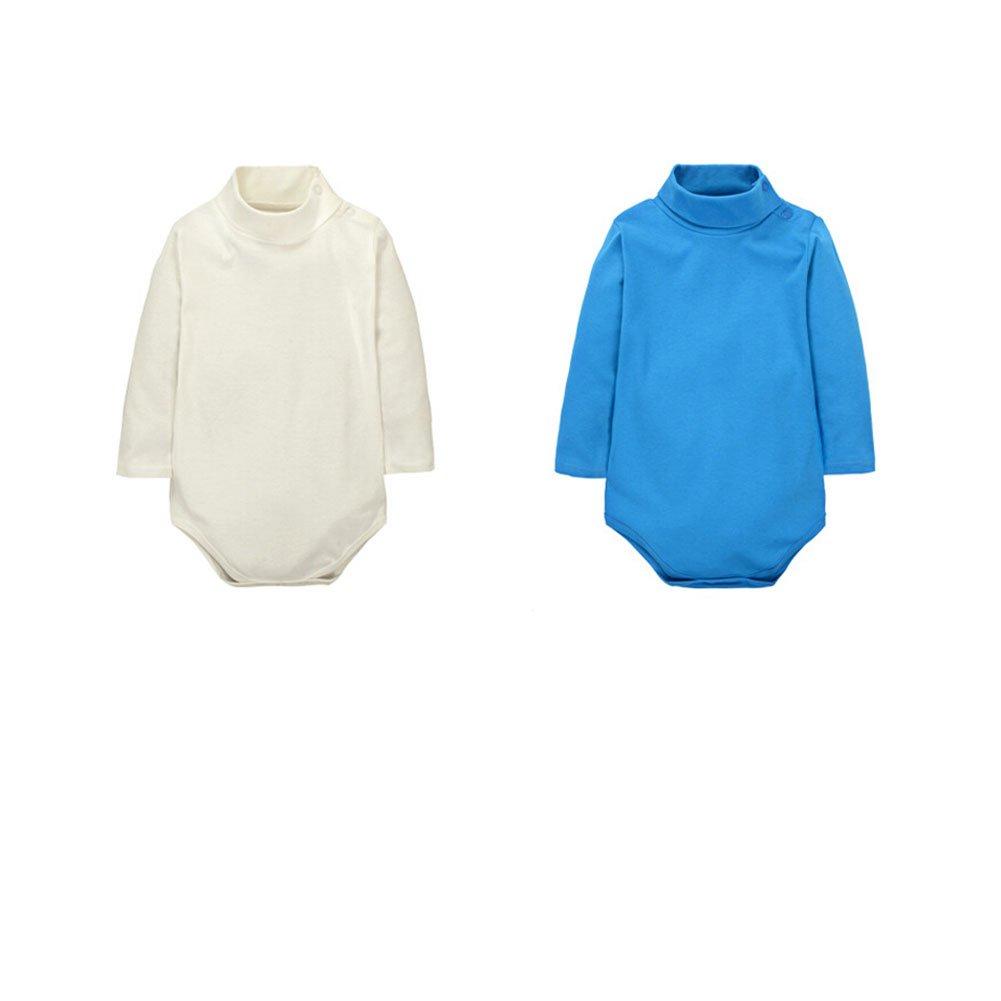 CuteOn 2 Packs Unisex Baby Spielanzug - Polo Neck Langarm - 100% Baumwolle - Kinder Bodysuit Beige + Blau 6 Monate