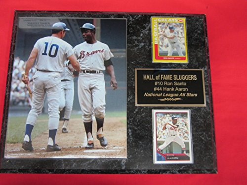 Hank Aaron Game (Ron Santo Hank Aaron All Star Game 2 Card Collector Plaque w/8x10 RARE Photo)