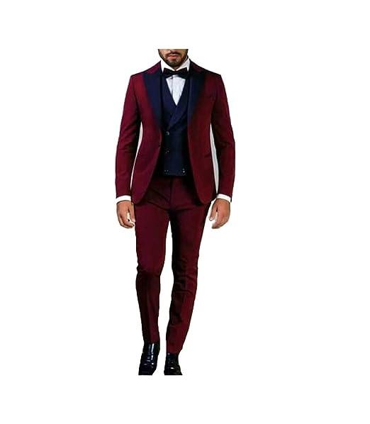Amazon.com: Traje Beige Groom Tuxedos Peak Negro Solapa ...