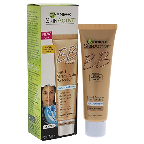 Garnier SkinActive BB Cream Face Moisturizer For Oily/Combo Skin, Medium/Deep, 2 fl. oz. (Bb Cream For Oily Skin)